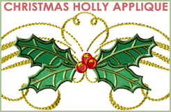 Christmas Holly Applique 5x7 & 6x10