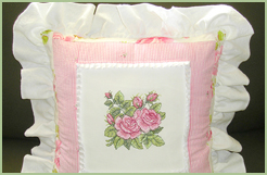 Cottage Quilt Pillow with Roses