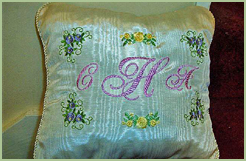 Cream Pillow with Monogram #2 & Roses