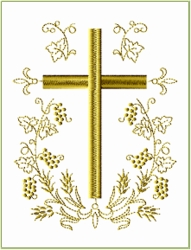 Cross in Oval Wreath