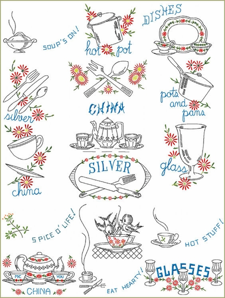 Daisy Kitchen Machine Embroidery Designs Set