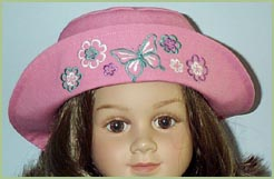 Doll dress and hat with butterlies