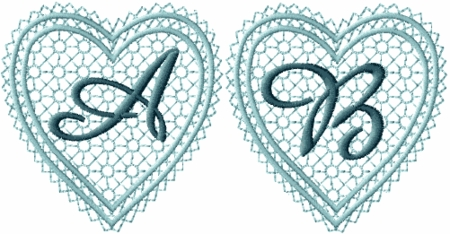 Lacy Hearts Monograms