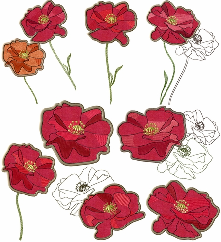 Opium Poppy Applique Flowers