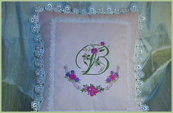 Pillow with Floral Initials & Roses