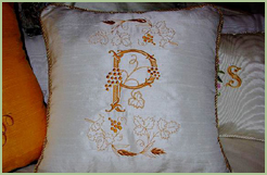 Pillow with Grape Vines & Initial