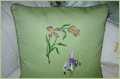 Pillow with Iris Corner & Initial