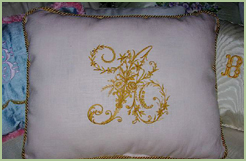 Pillow with Victorian Whitework font