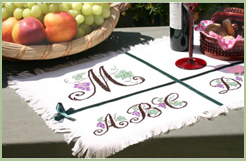 Placemat-Sampler with Grapes font