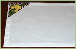 Placemats Set with Lace Corners