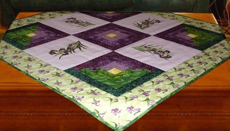 Spring quilt with Irises