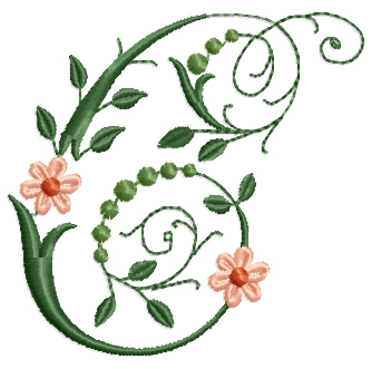 Victorian Flowers Font  Letter C Machine Embroidery Design