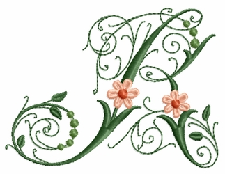Victorian Flowers Font - Letter R
