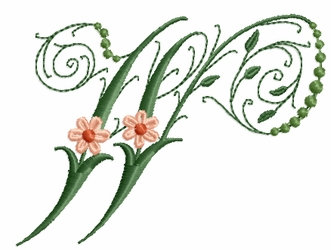 Victorian Flowers Font - Letter W