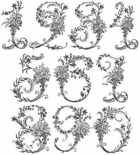 Victorian Whitework Numbers 5x7