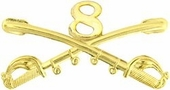8th Cavalry Crossed Sabers Pin