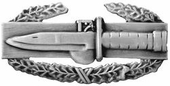 Combat Action Badge Pin Silver Oxide Finish