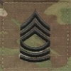 OCP Master Sergeant MSG E-8 Army Rank 2x2 Hook Fastener Back