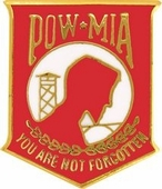 "POW/MIA 5/8"" Red Pin"