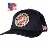 US Marines Round Logo Black Made In USA Hat