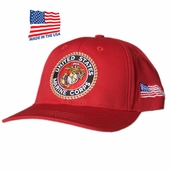 US Marines Round Logo Red Made In USA Hat