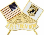 USA/POW Flags...Free Them Now Pin