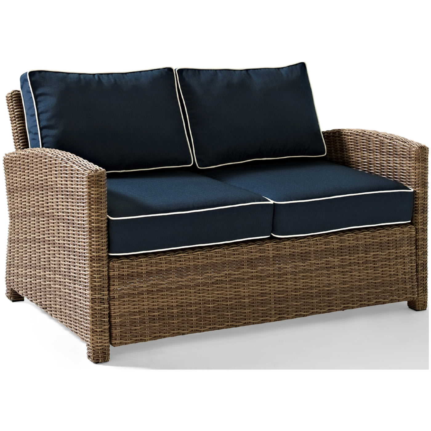 crosley biltmore outdoor wicker loveseat with cushions. Black Bedroom Furniture Sets. Home Design Ideas