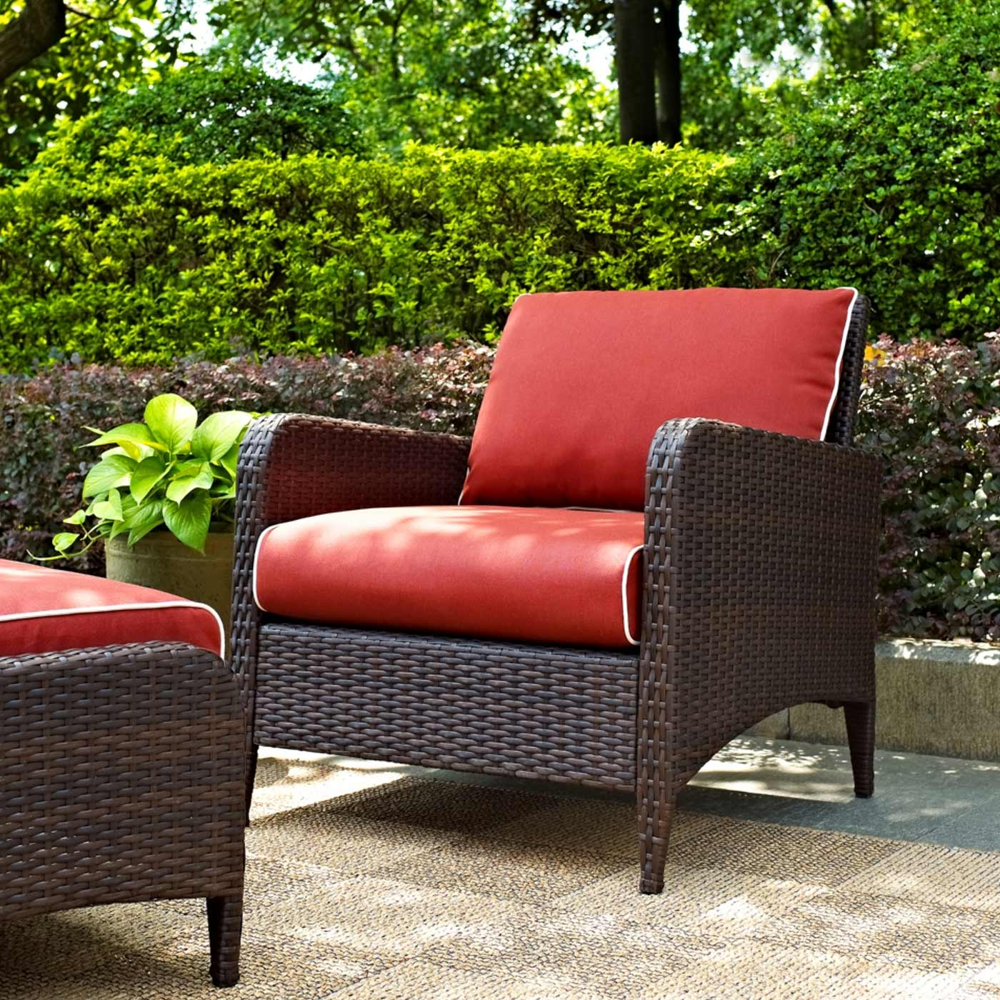 crosley kiawah chair and ottoman outdoor wicker set with sangria cushions free shipping. Black Bedroom Furniture Sets. Home Design Ideas