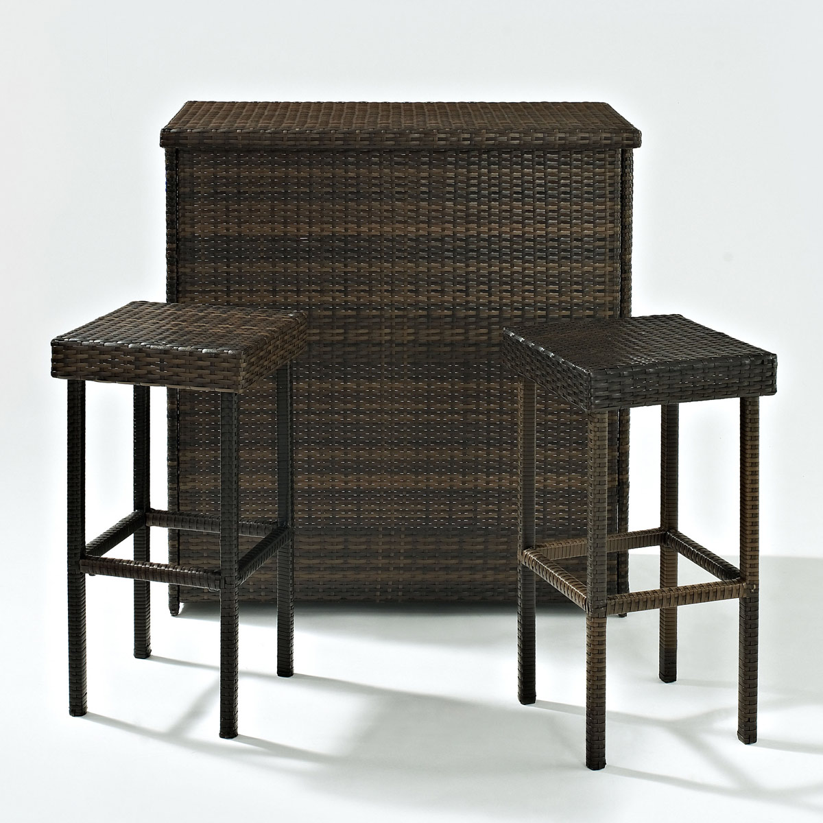 Crosley Palm Harbor 3 Piece Outdoor Wicker Bar Set Bar And Two Stools Ko70009br Free Shipping