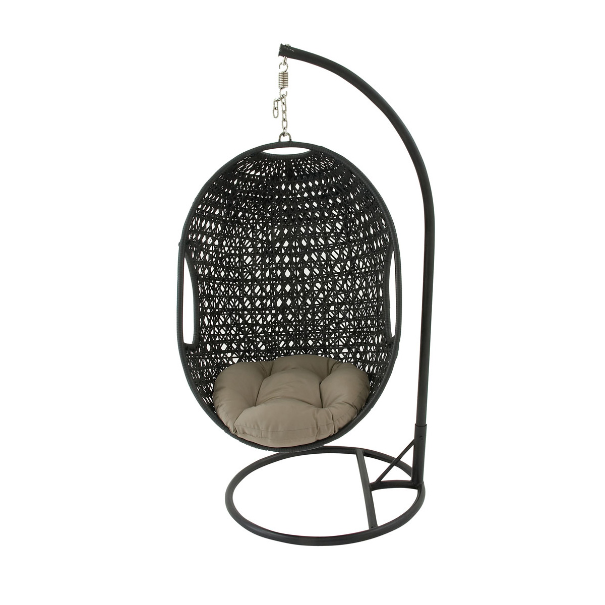 Hanover Outdoor Wicker Rattan Hanging Egg Chair Swing With Round Cushion And Mosaic Pattern In
