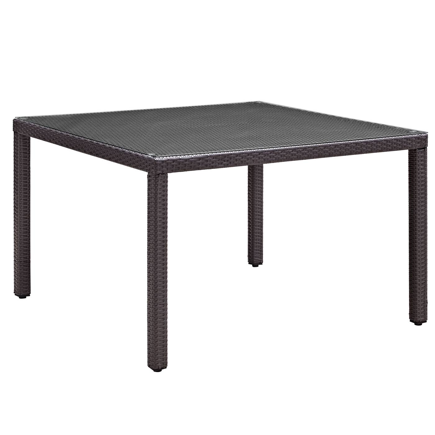 Modway Convene 47 Square Outdoor Patio Glass Top Dining