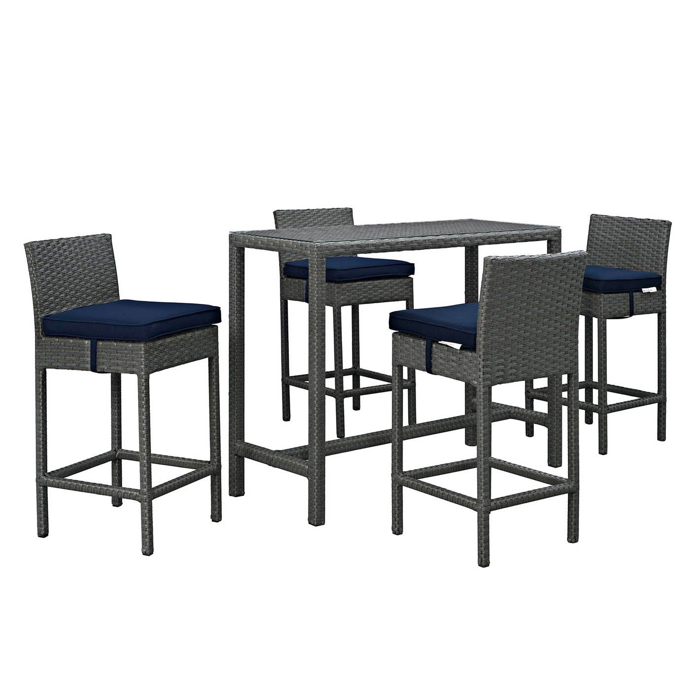 modway sojourn 5 piece outdoor patio bar height dining set