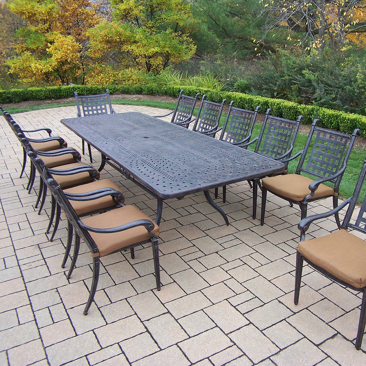 Oakland living belmont aluminum 13 piece expandable patio for Outdoor dining sets for 12