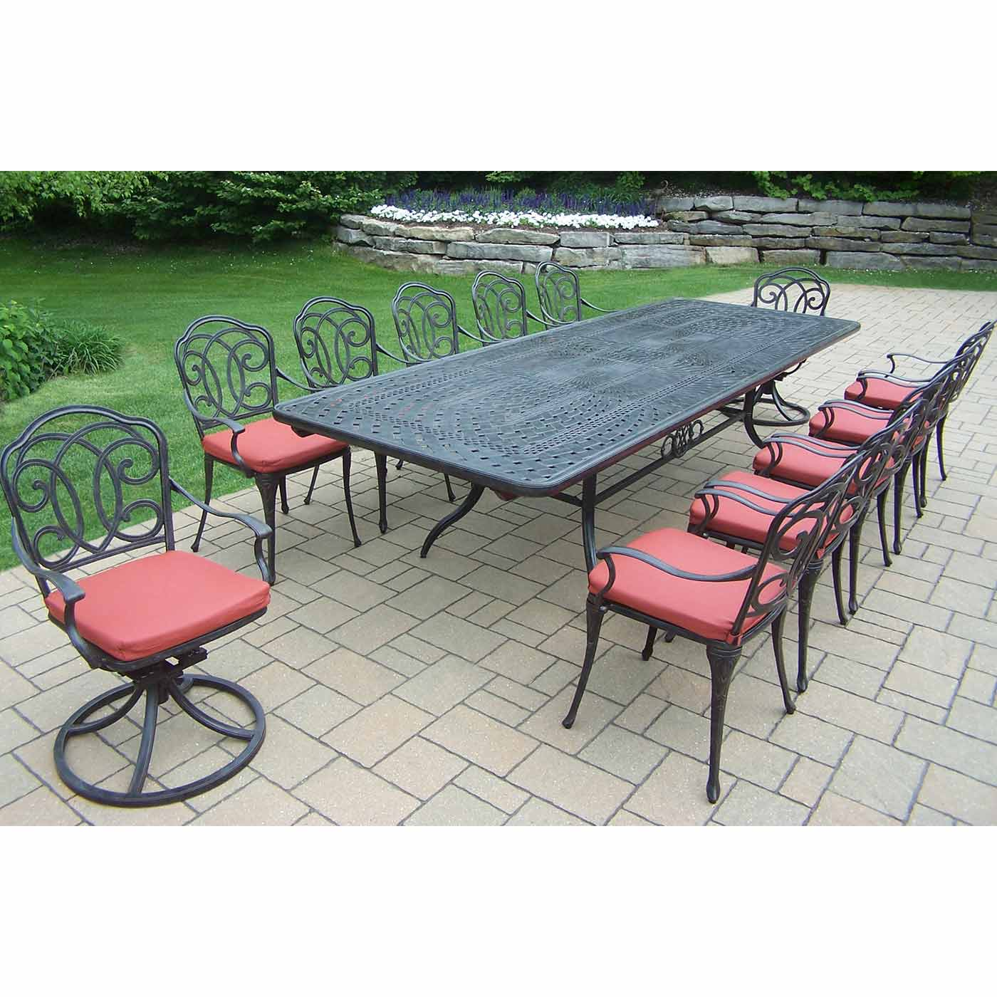 Oakland living berkley 13 piece outdoor patio set with for 13 piece dining table set