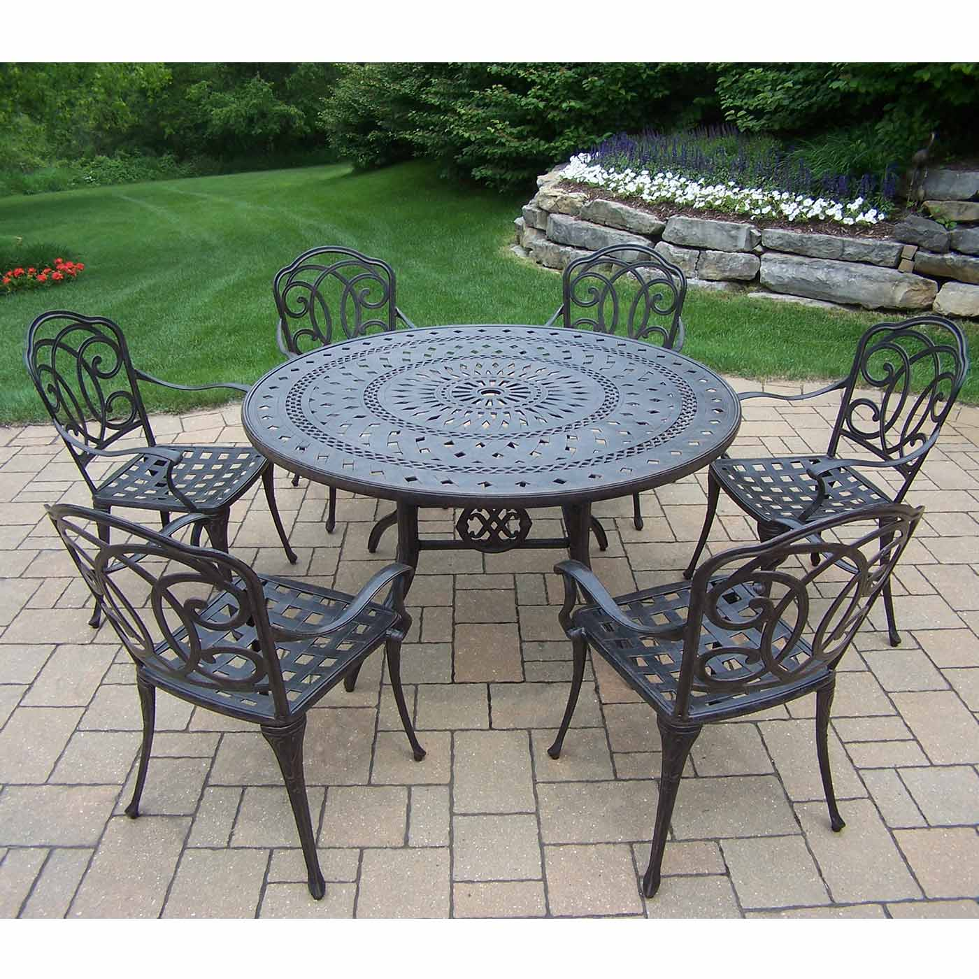 Oakland living berkley 7 piece aged patio set with 54 for Outdoor dining sets for 6 round table
