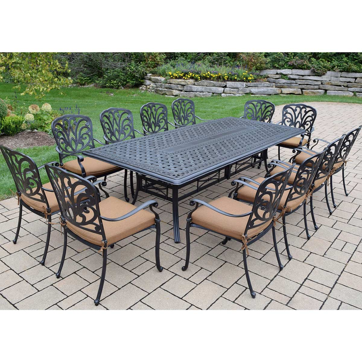 Oakland living hampton aluminum 13 pc set with 102 x 46 for 13 piece dining table set