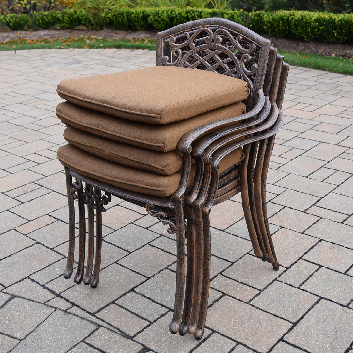 Oakland living mississippi 5 pc patio cast aluminum for Round table outdoor dining sets