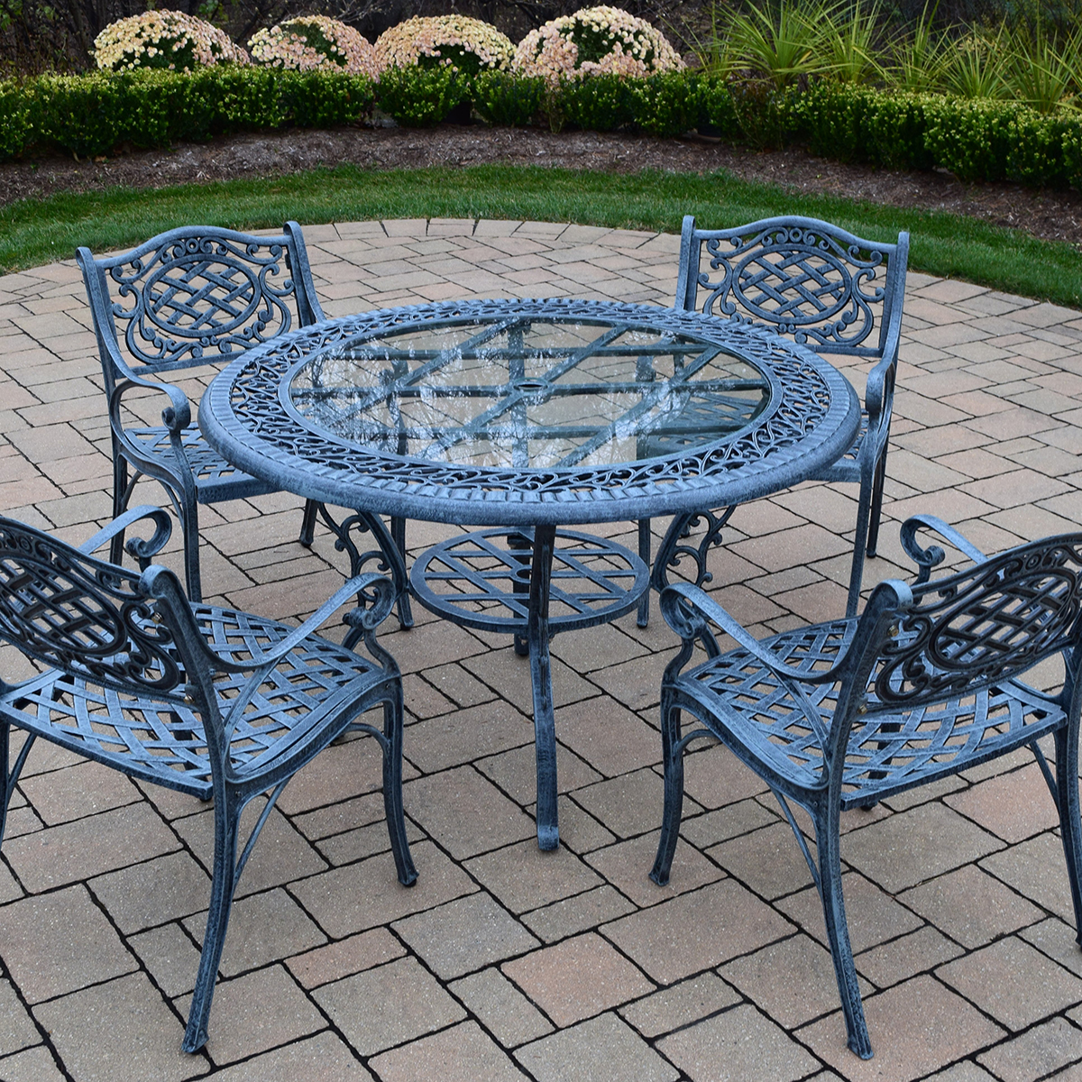 Cast aluminum patio table and chairs cast aluminum patio for Metal patio table and 4 chairs