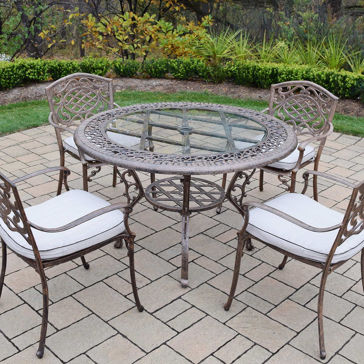 Oakland living mississippi 5 piece cast aluminum patio for Metal patio table and 4 chairs