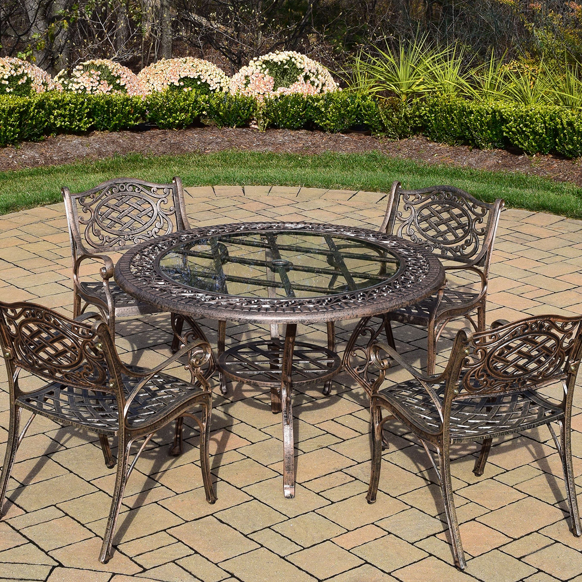 Oakland living mississippi 5pc cast aluminum patio dining for Metal patio table and 4 chairs