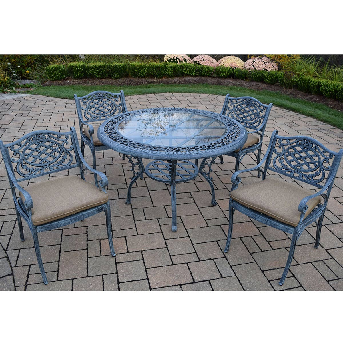 oakland living mississippi 5pc cast aluminum patio dining set with