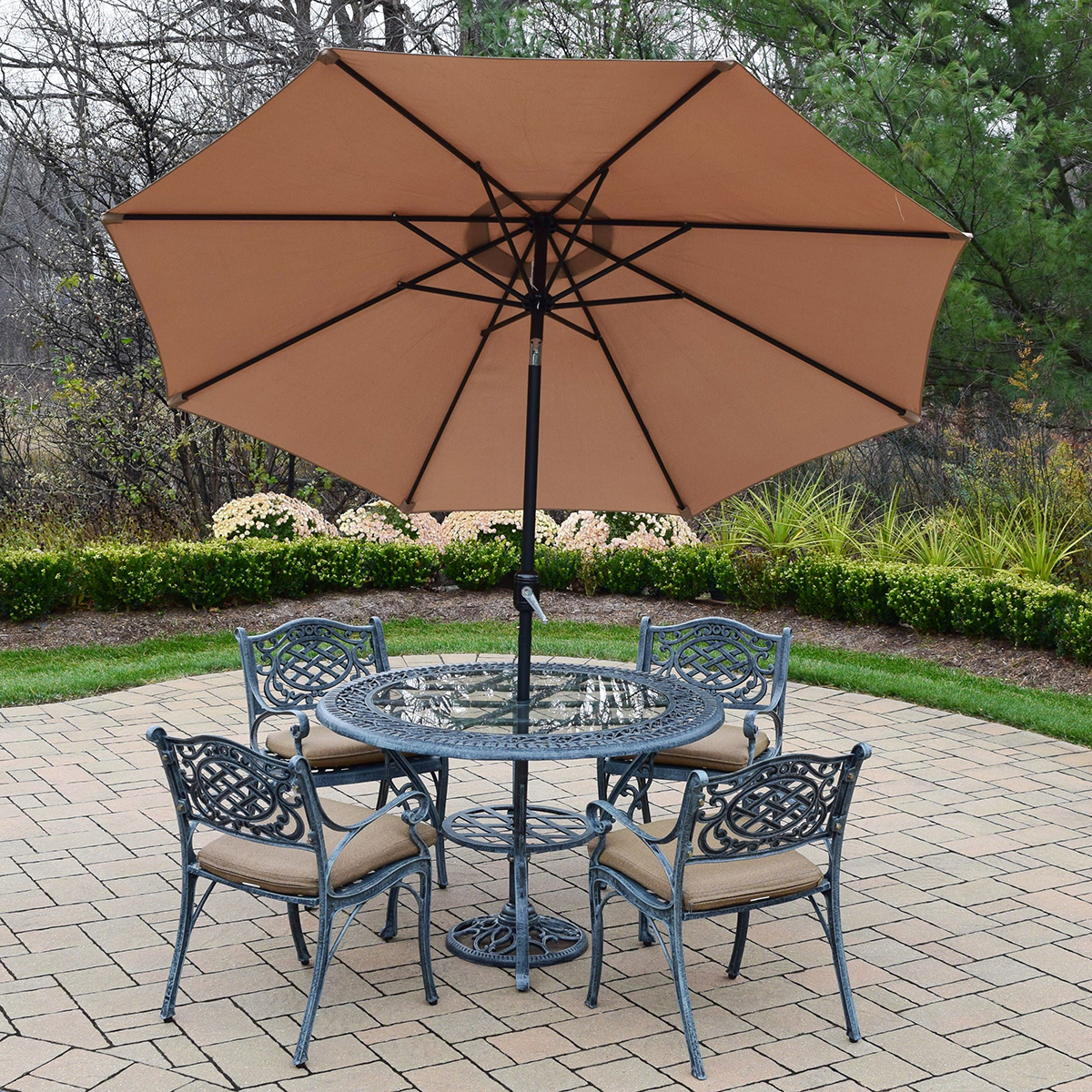 Oakland living mississippi 7pc cast aluminum patio set for Patio table and umbrella sets