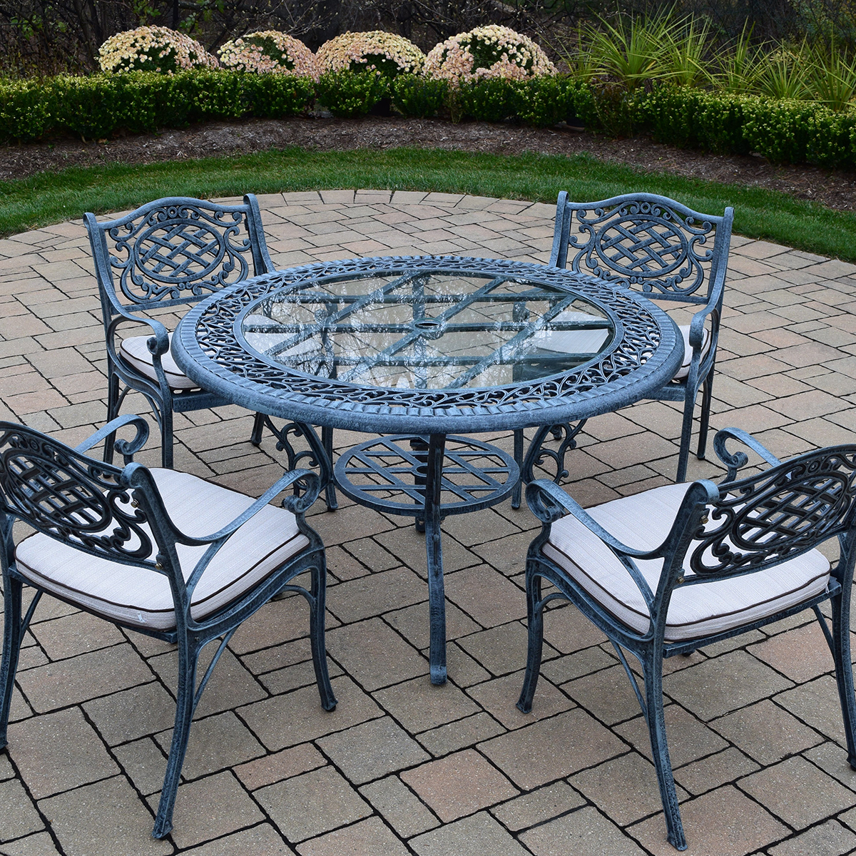 Oakland living mississippi cast aluminum 5 piece patio for Patio dining sets with bench seating