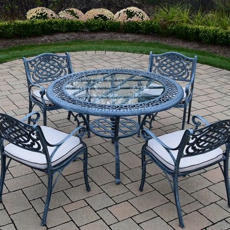 Oakland Living Mississippi Cast Aluminum 5 Piece Patio Dining Set With 48 Inch Round Table And 4