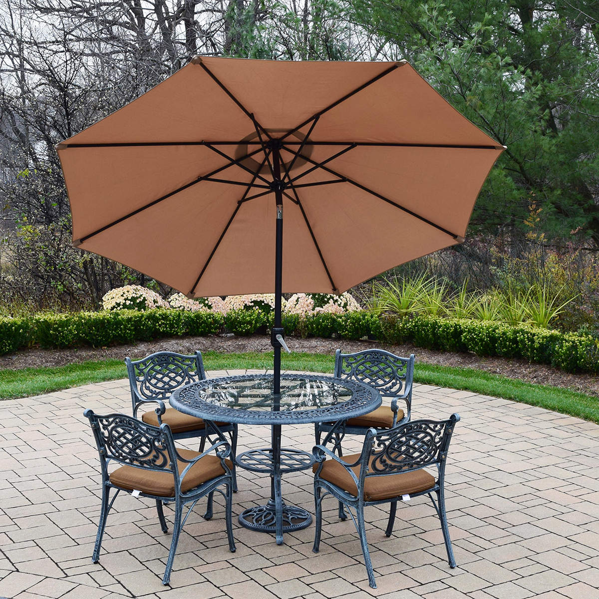 Oakland living mississippi cast aluminum 7 piece patio for Patio table and umbrella sets