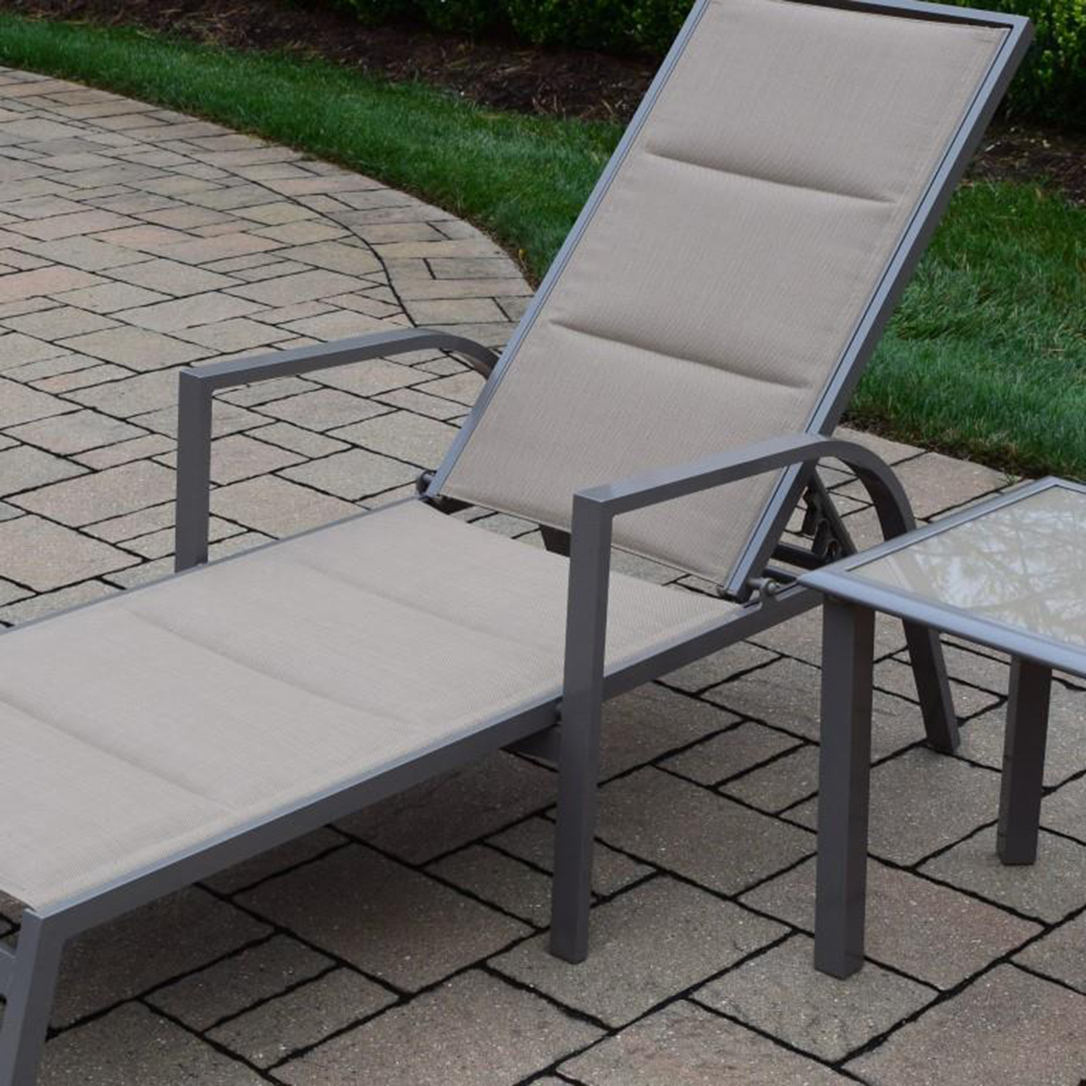 Oakland living padded sling aluminum chaise lounge and 18 for Aluminum chaise lounges