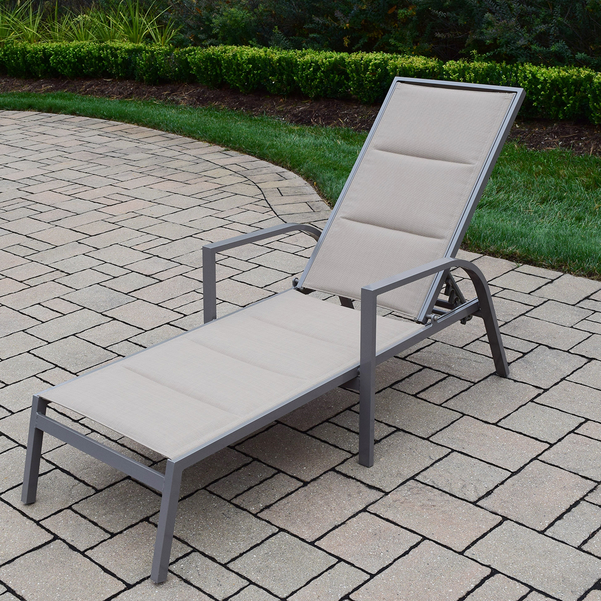 Oakland living padded sling aluminum chaise lounge in for Aluminum chaise lounges