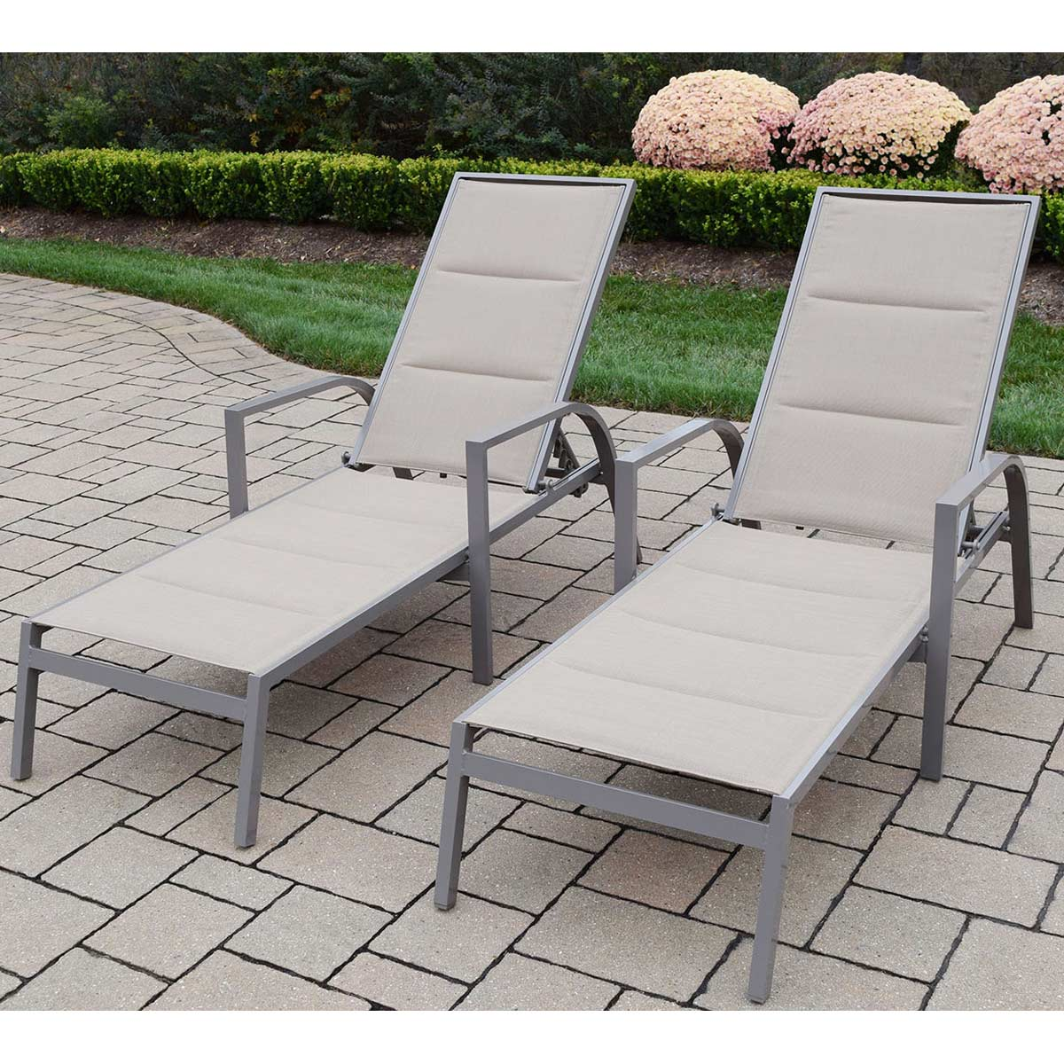 Oakland living padded sling aluminum chaise lounges set for Chaise longue aluminium