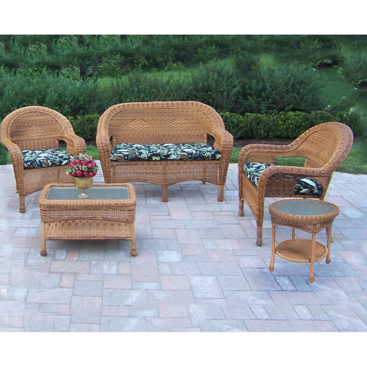 Oakland Living Resin Wicker 5 Pc Seating Set With