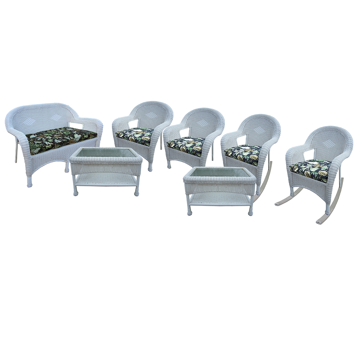 Oakland Living Resin Wicker 7 Pc Seating Set With Cushioned Loveseat 2 Chairs 2 Rockers And 2